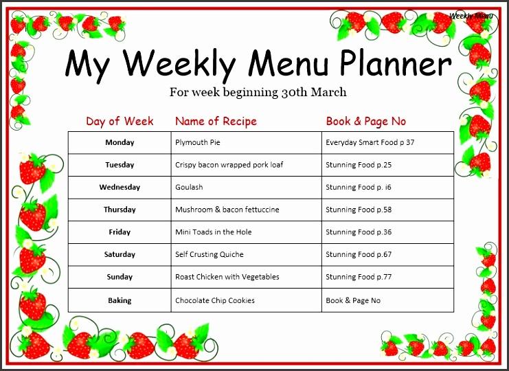 Weekly Menu Template Best 20 Weekly Menu Template Ideas