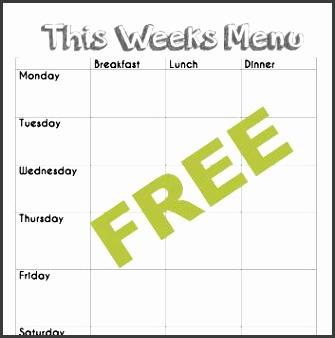 Free blank menu planning template and weekly menu plan example