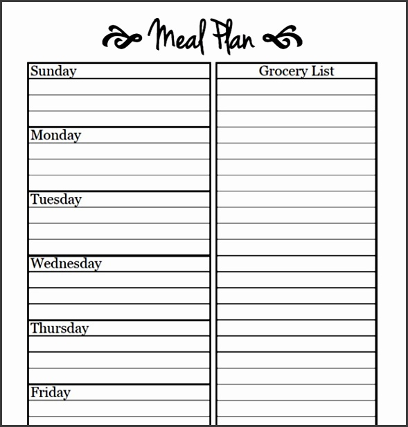 Meal Planning Template Cents and Order