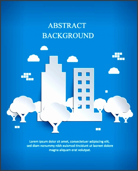 white paper cut city background vector