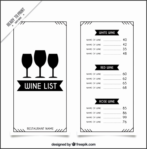 Wine list template with three glasses Free Vector