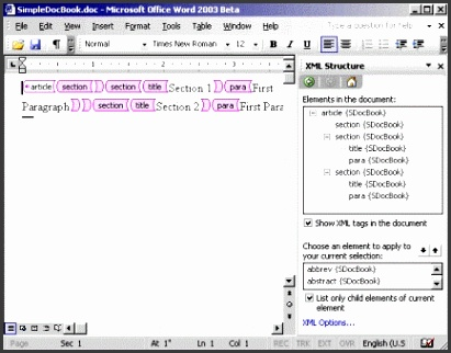 Creating an XML document in Word 2003