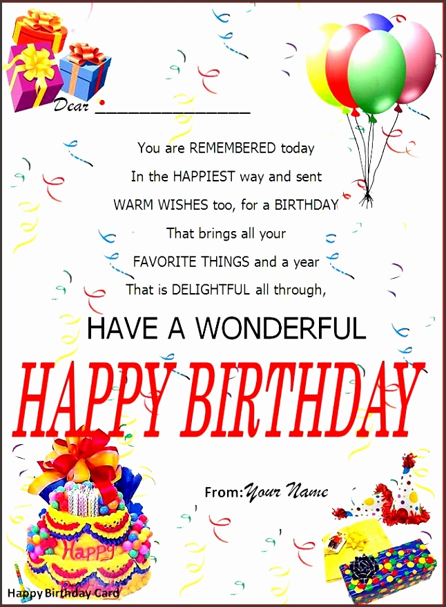 Birthday Card Word Template My Birthday Pinterest