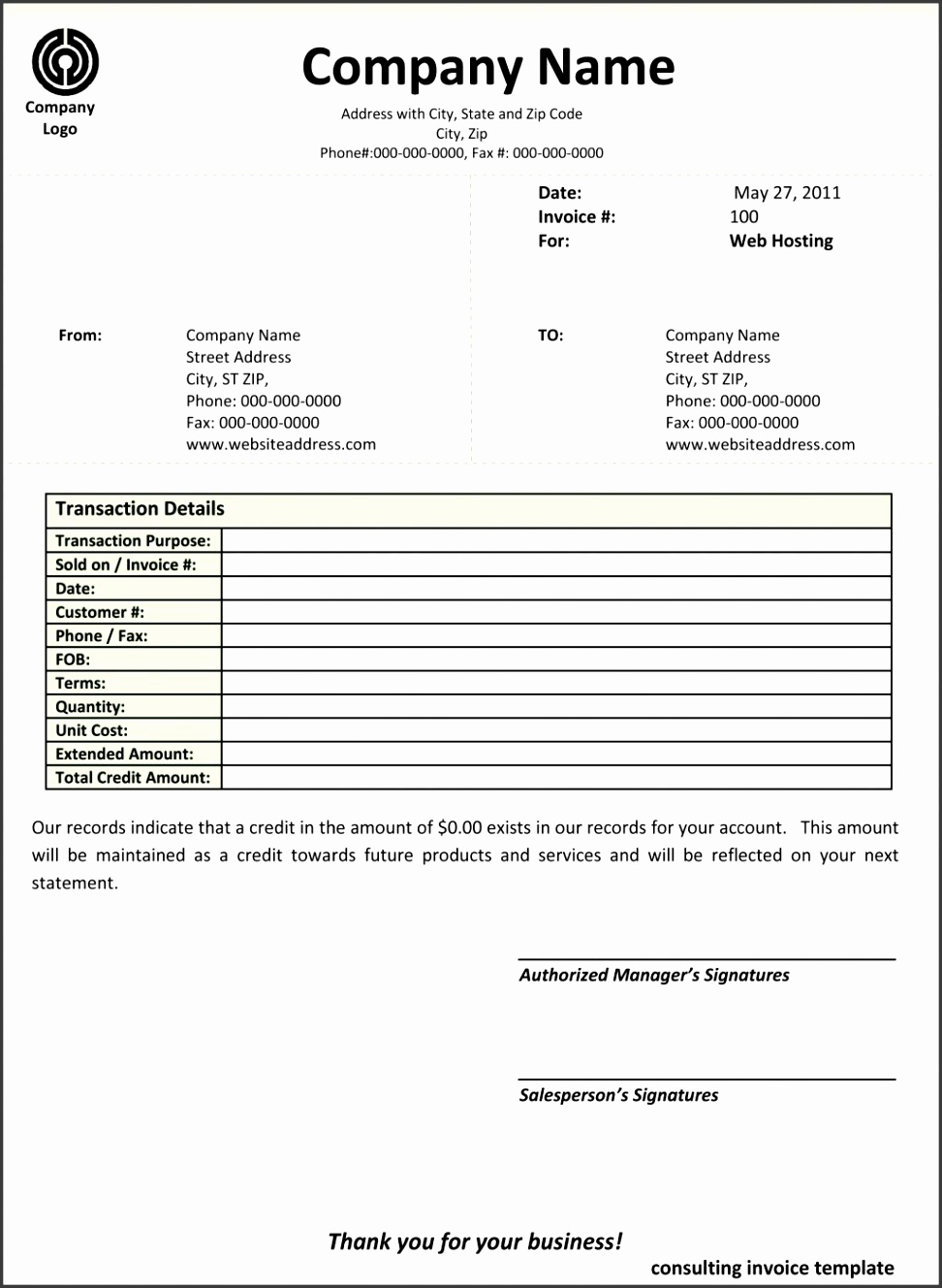 Business Invoice Templates View r