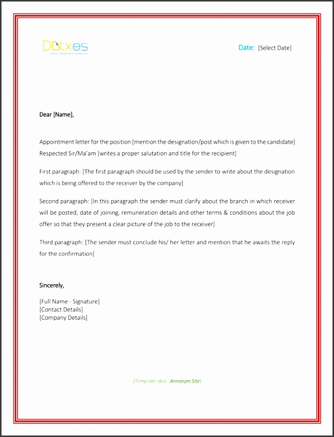 Appointment Letter Sample in Word Format