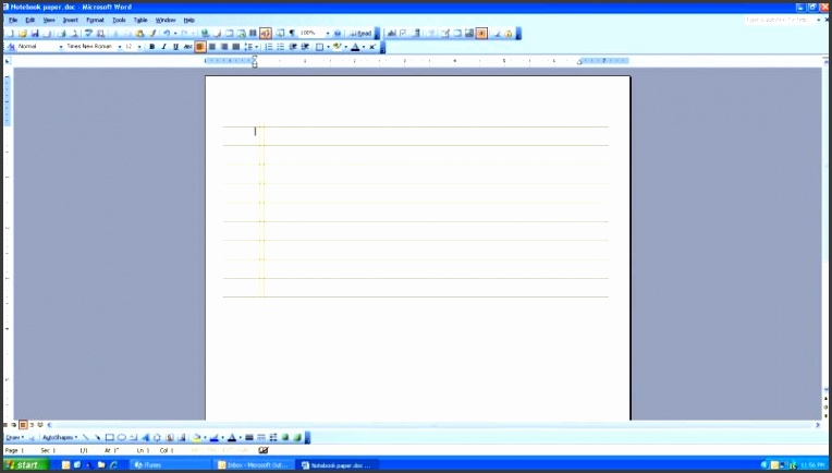 Notebook Paper Template Word For