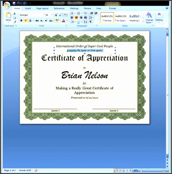 Get Word Templates for Certificate of Appreciation Certificate of Appreciation Template Nice Customized Award Certificate