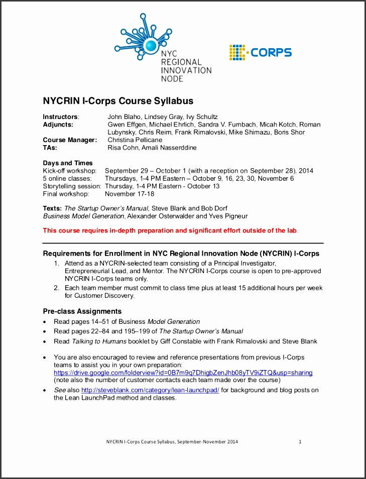 project proposal sample Nycrin I Corps course syllabus Sept 2014