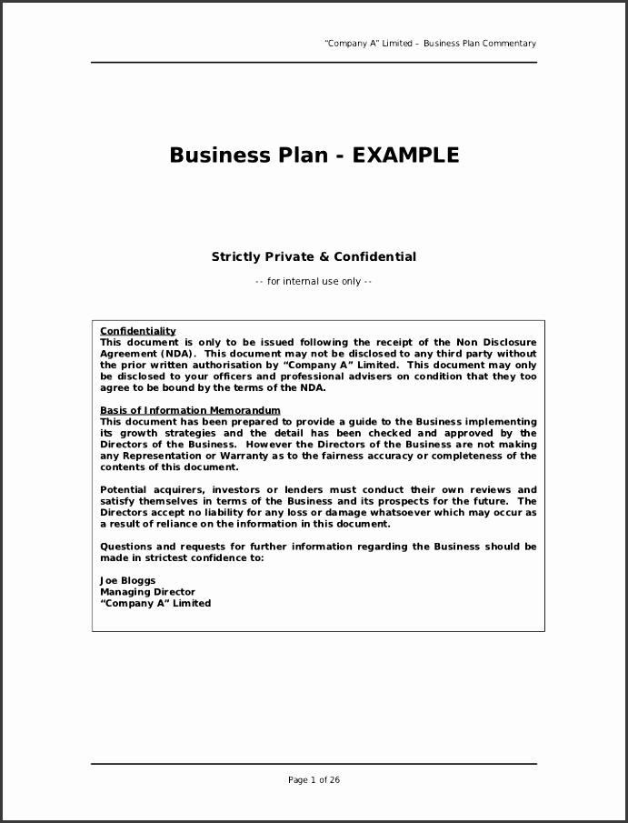 """"""" pany A"""" Limited – Business Plan mentary Business Plan EXAMPLE"""