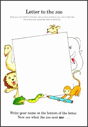Dear Zoo Letter writing template