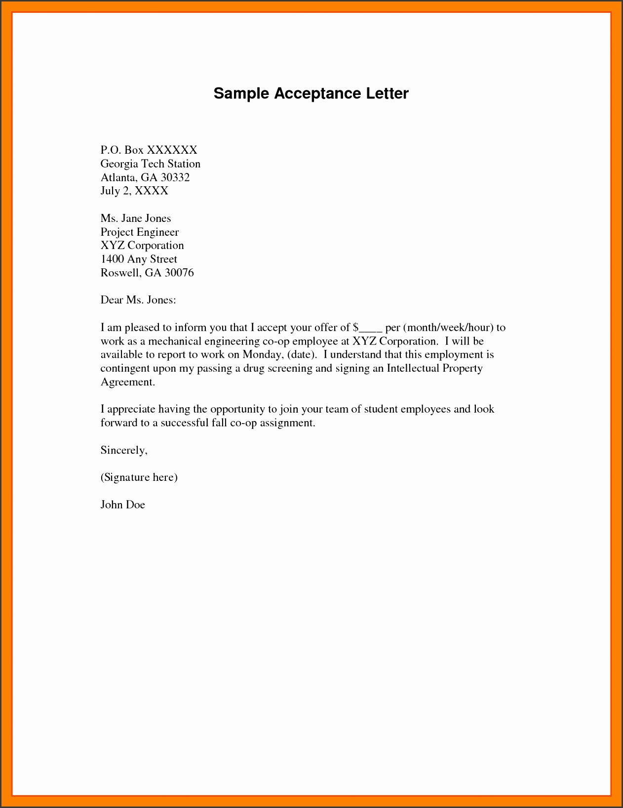 example of acceptance lettermple of acceptance letter college acceptance letters examples college letter example