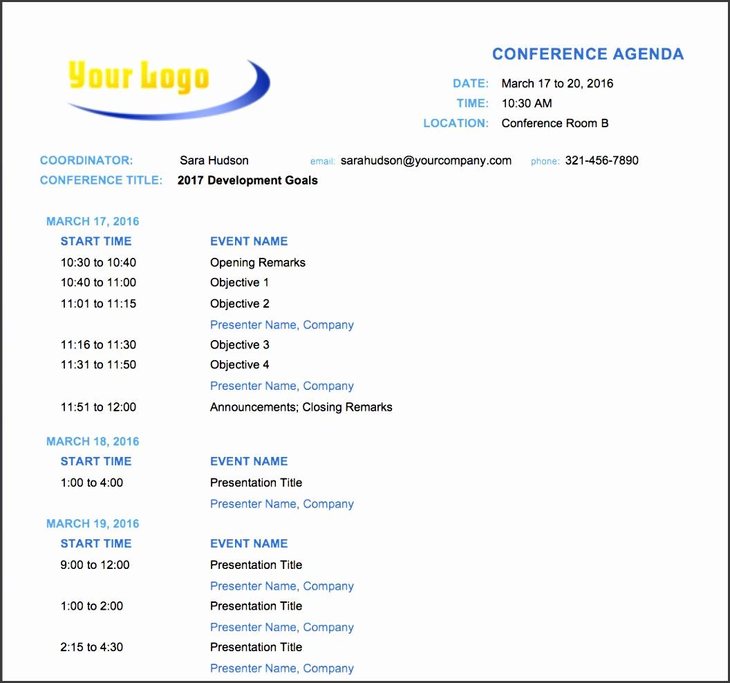 agenda format sample