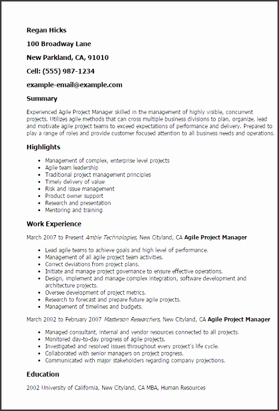 Resume Templates Agile Project Manager