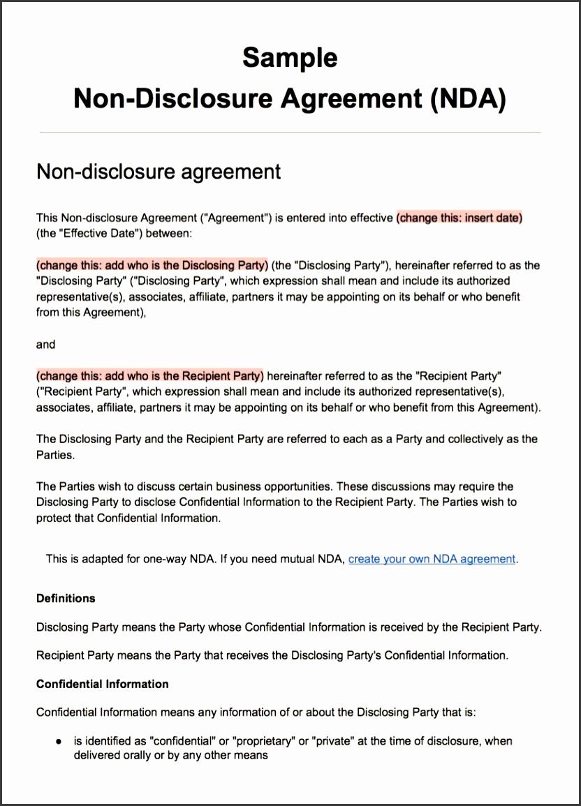 Screenshot of the NDA Template as PDF