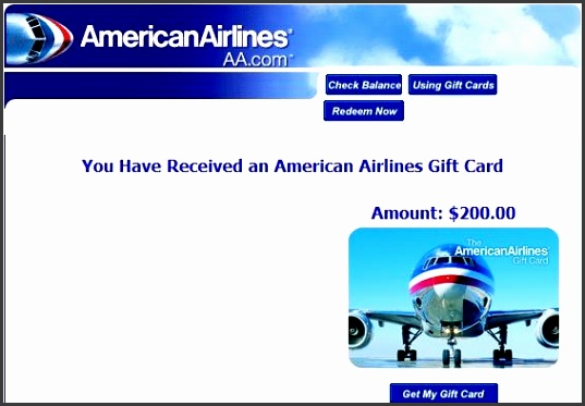 Gift Card Order from AA