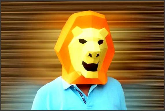 Geometric Animal Mask Template