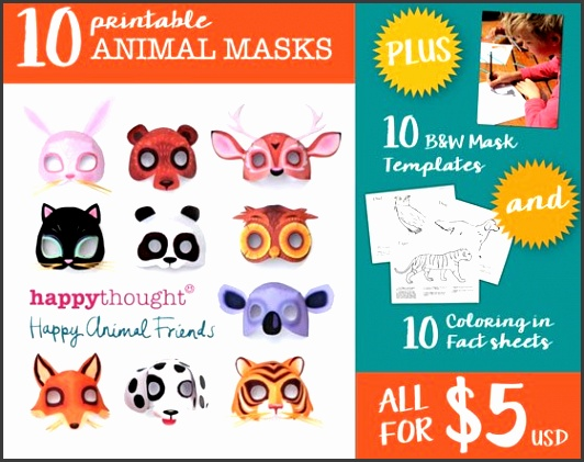 10 Animal mask crafts template Dress up printables
