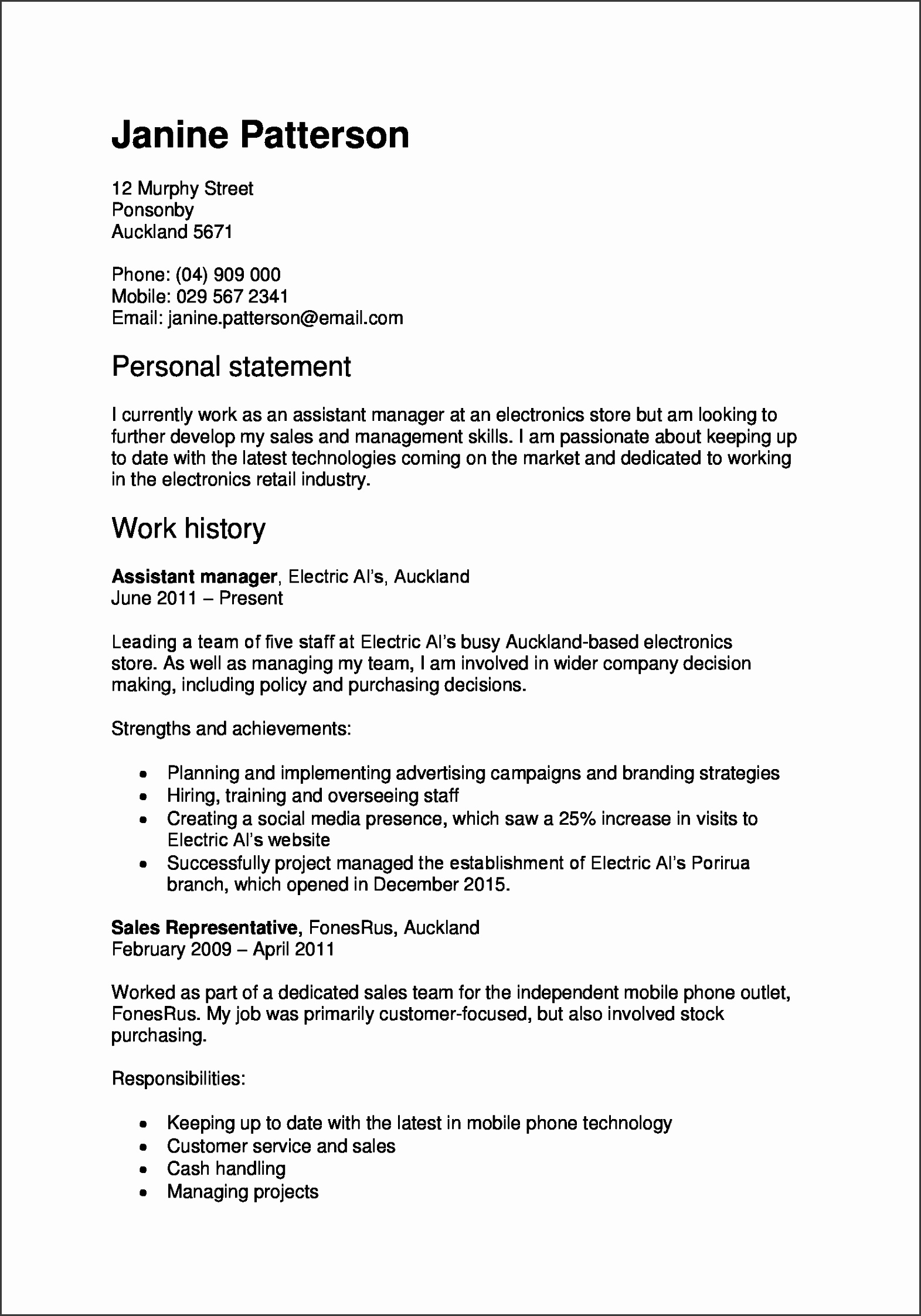 example of a work focused CV