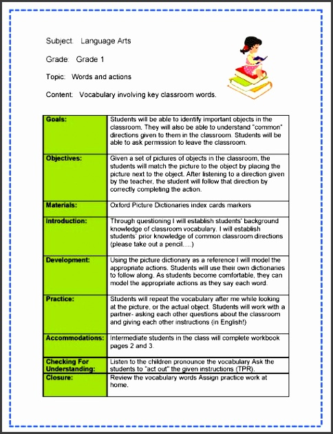 Language Arts Lesson Plan Words And Action Using Vocabulary