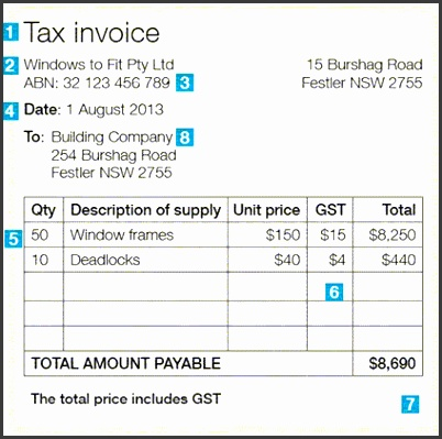 Simple Invoice Template Australia Issuing Tax Invoices Australian Taxation fice Free
