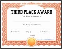 third place printable award