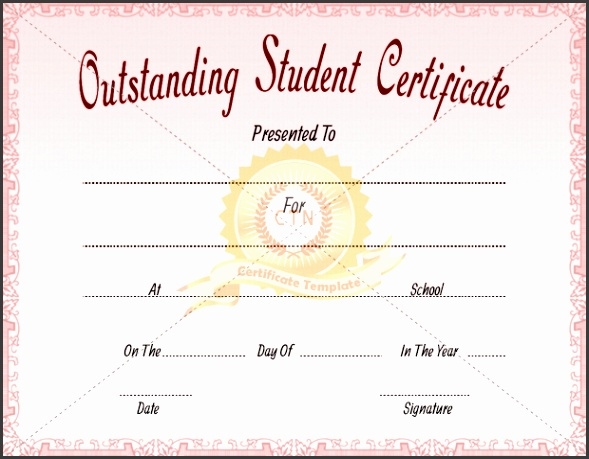 Outstanding Student Certificate