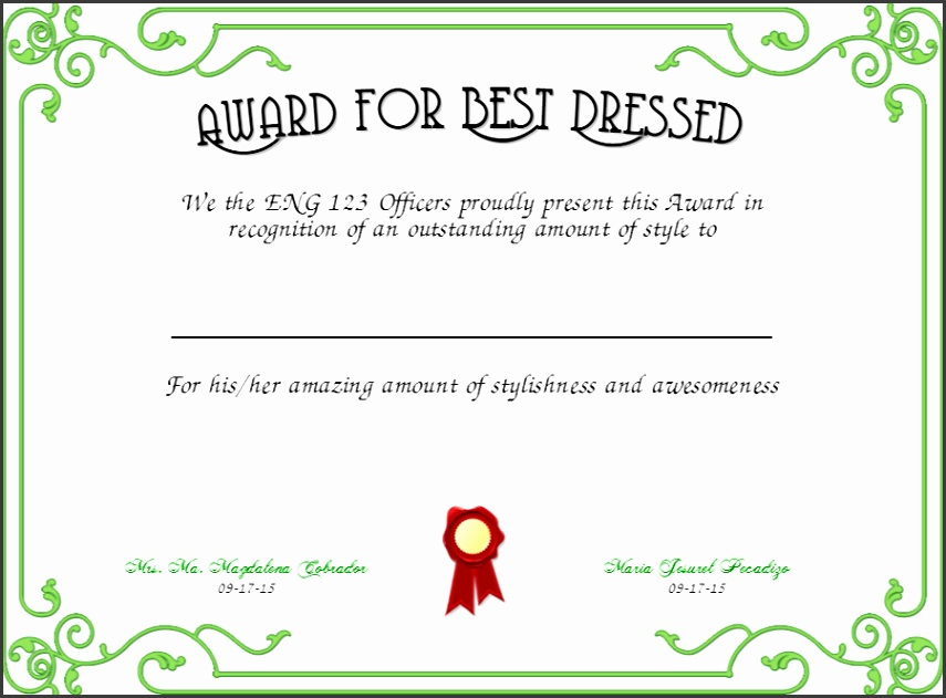 best dressed award certificate green
