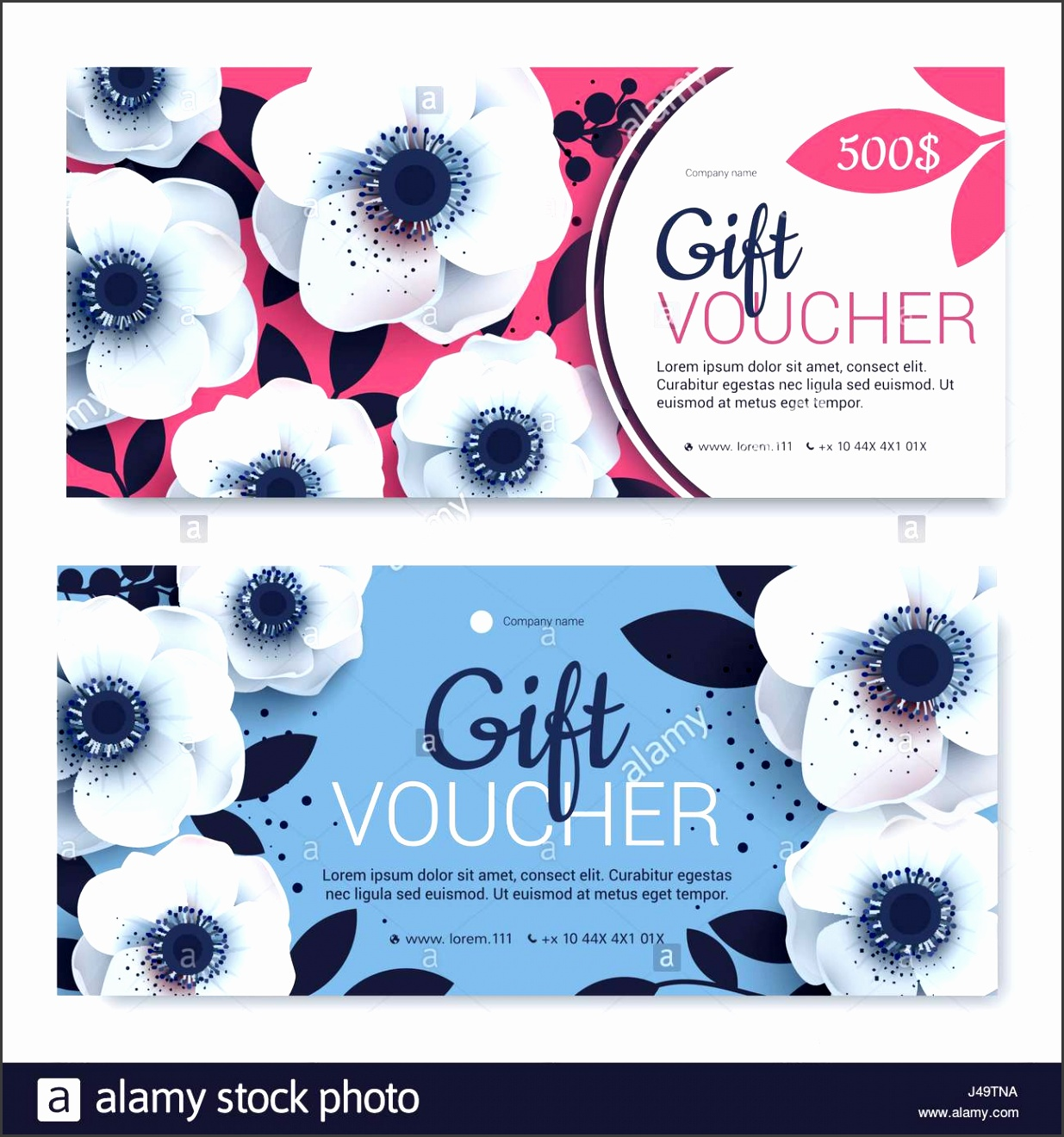 Gift voucher coupon template Bright colors Template for design certificate Background for invitations shop beauty salon spa Blue with pink vec