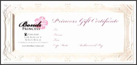 Professiona Custom Illustration Design Gallery Bondi Princess Gift Certificate Design