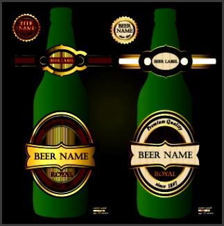 beer bottles and beer labels vector