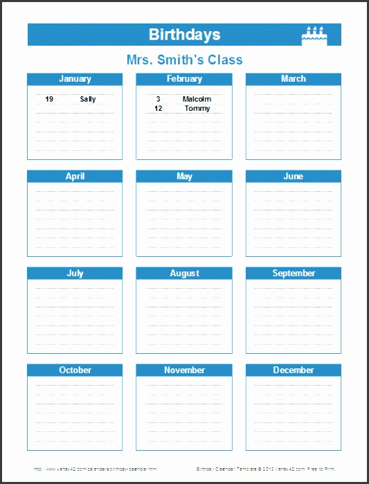 Printable Birthday Reminder Calendar