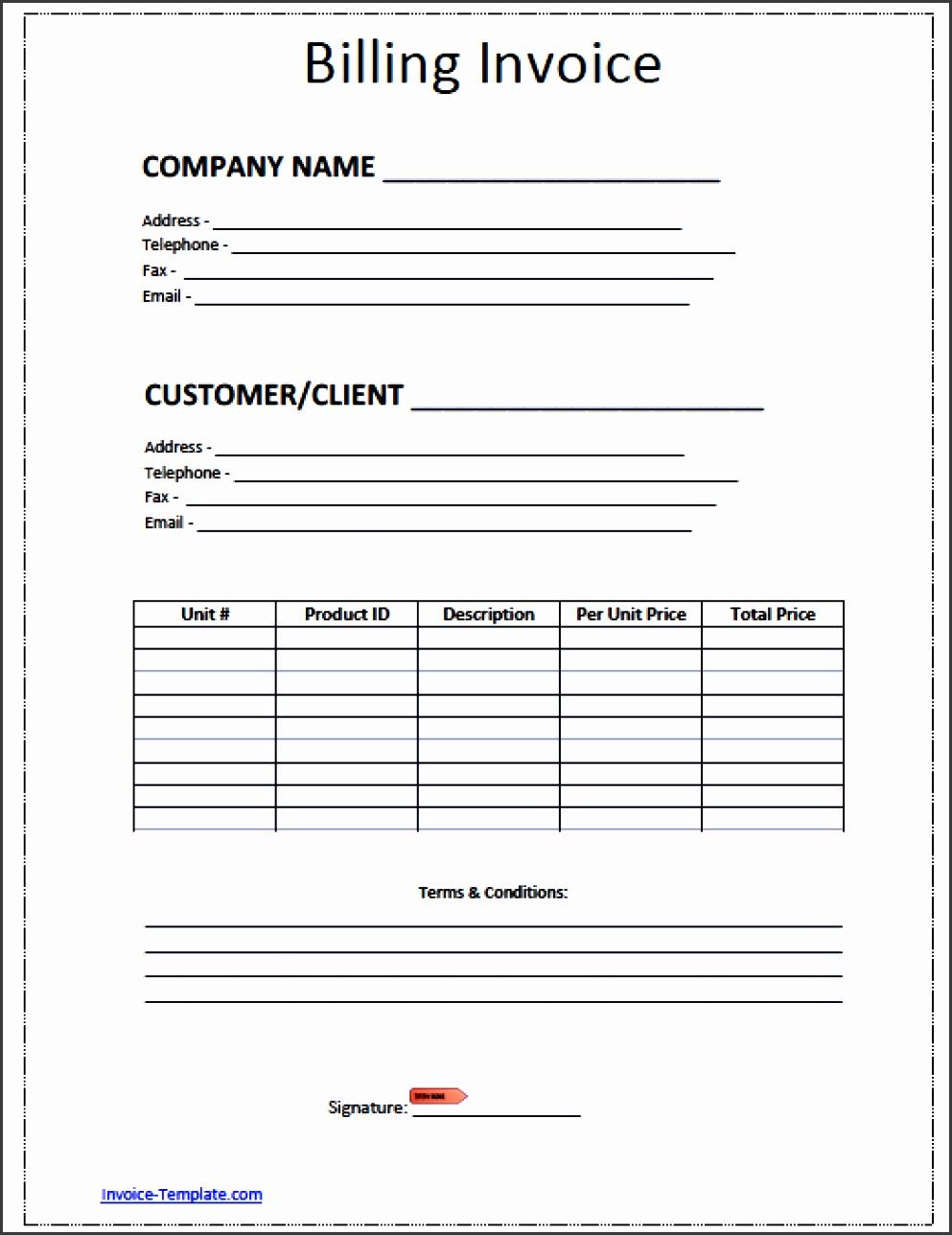 billing invoice template word pdf