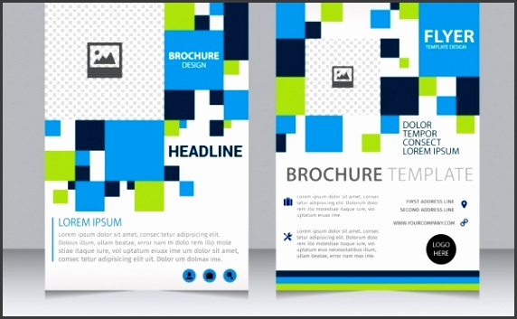 brochure template checkered blue green squares ornament