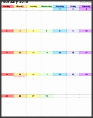 February 2018 calendar as printable Word Excel & PDF templates