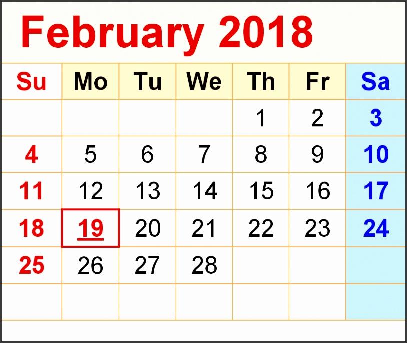 February 2018 Printable Calendar February 2018 blank calendar