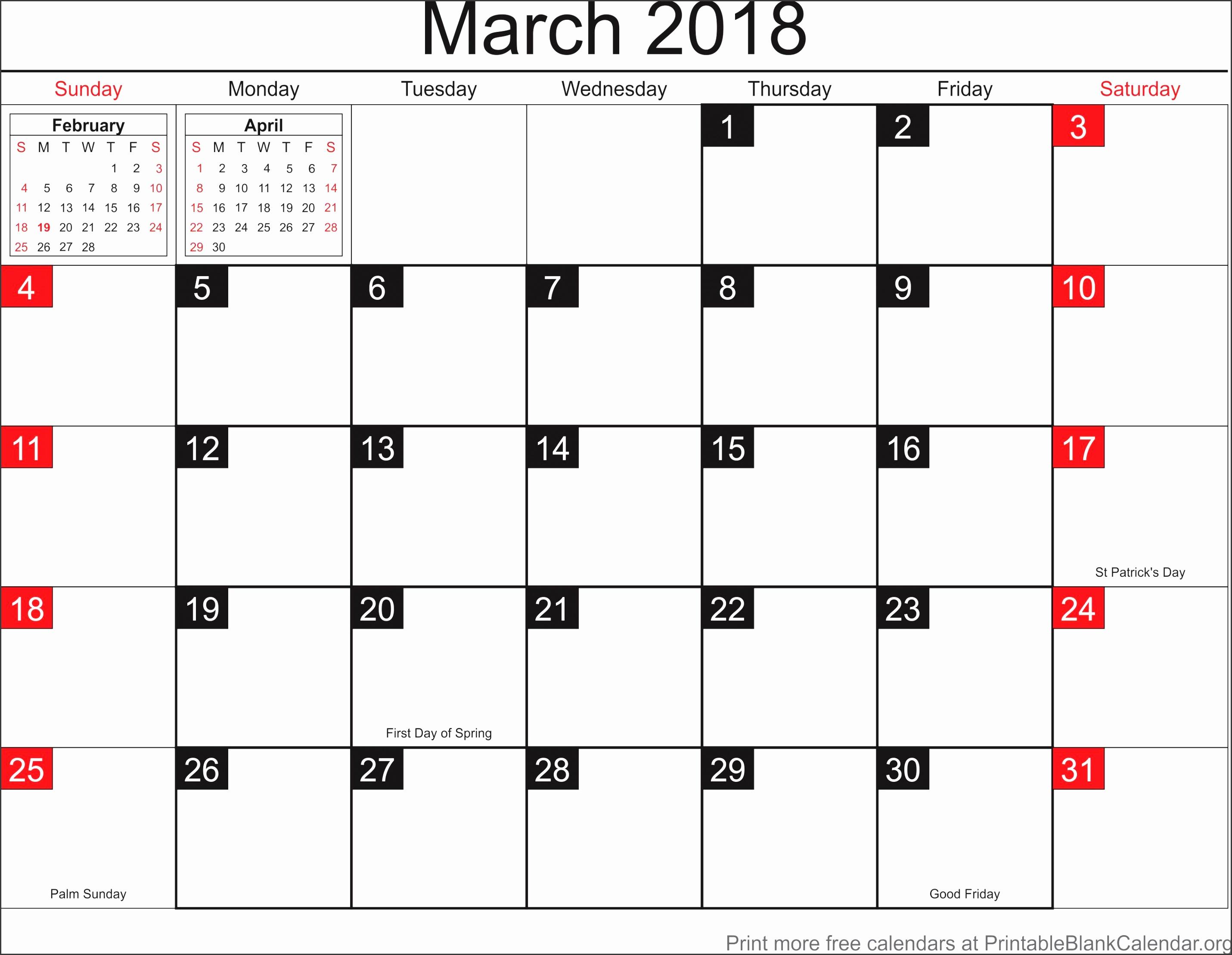 March 2018 blank calendar template