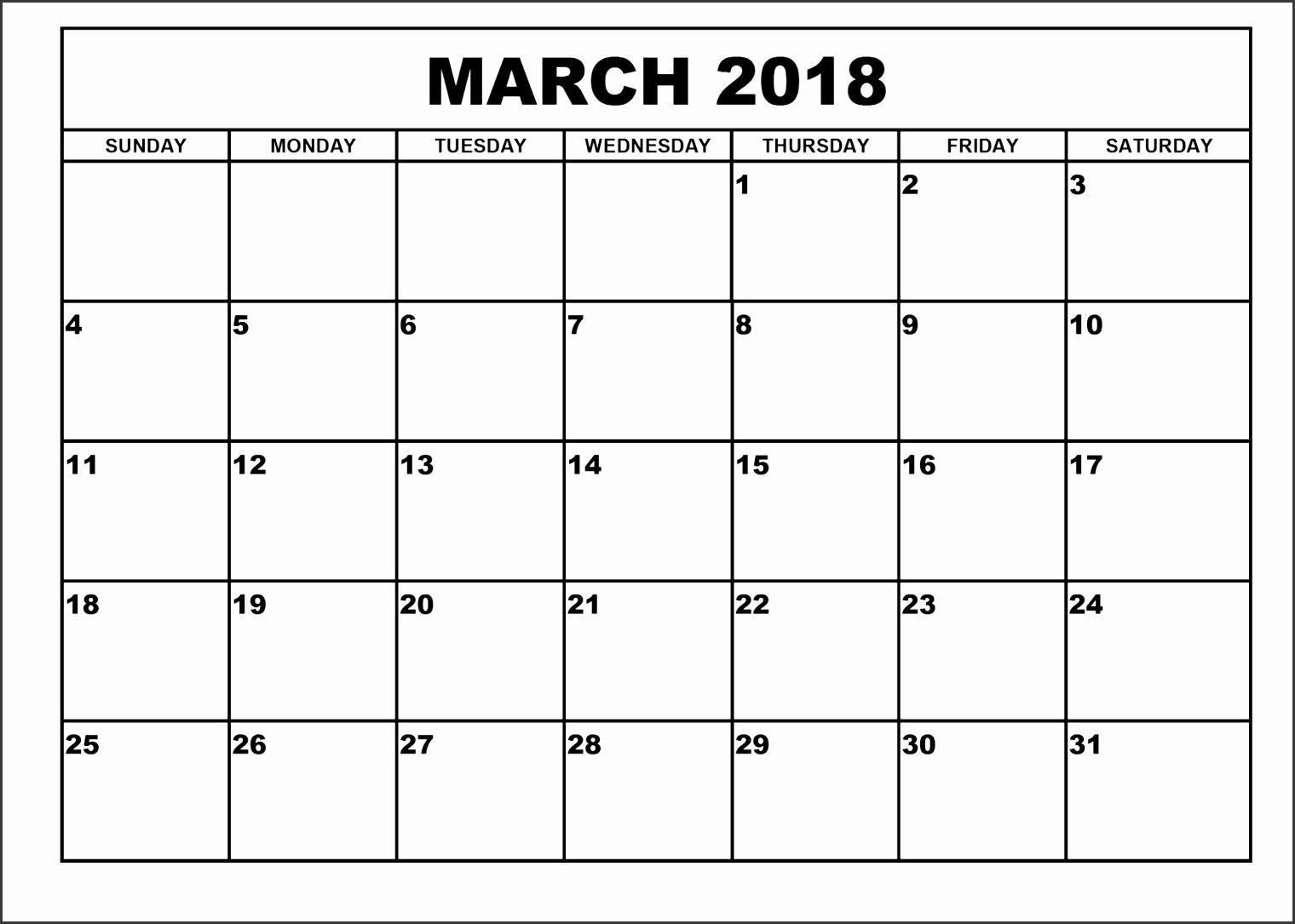 March 2018 Printable Calendar Templates throughout March 2018 Printable Calendar
