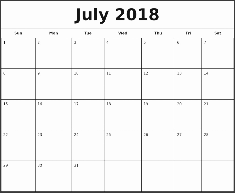 july 2018 monthly calendar template