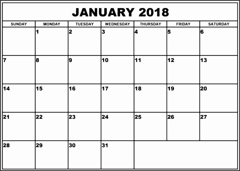 January 2018 Calendar Template Excel