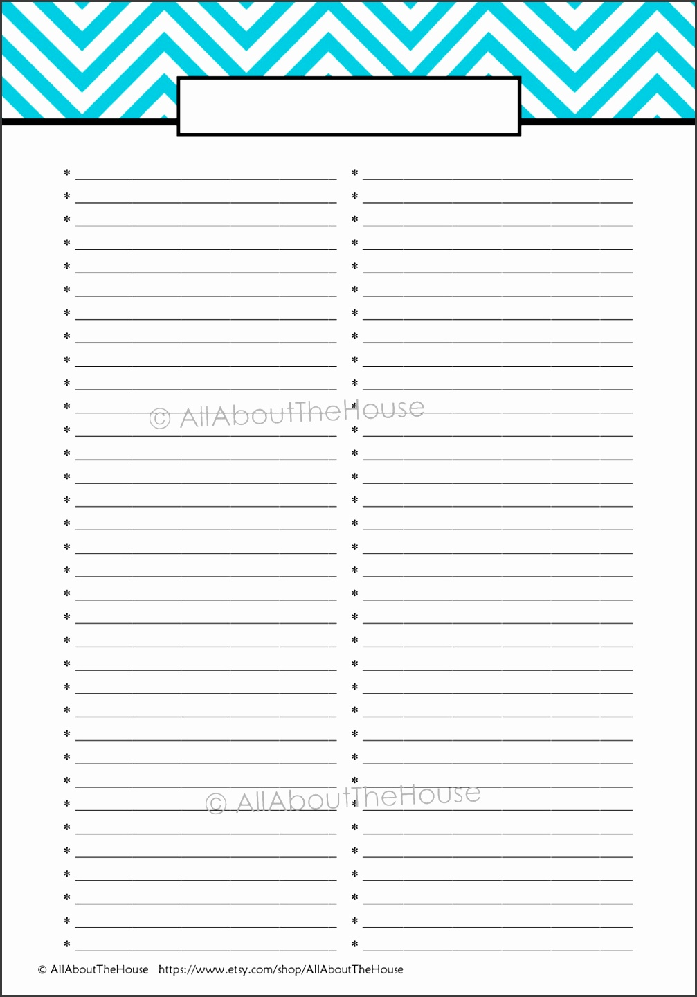 It's just a graphic of Universal Blank List Printable