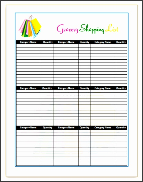 Grocery List Template Word