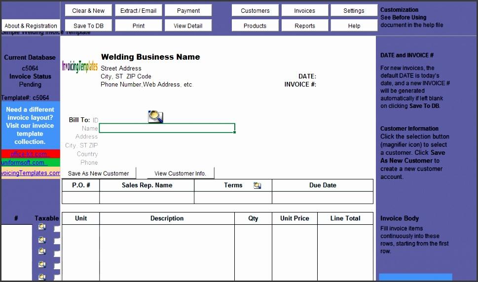Simple Welding Invoice Template Uniform Invoice Software V3 edition