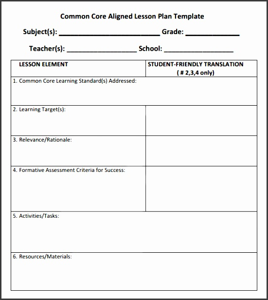 mon Core Lesson Plan Template Download Documents In Pdf