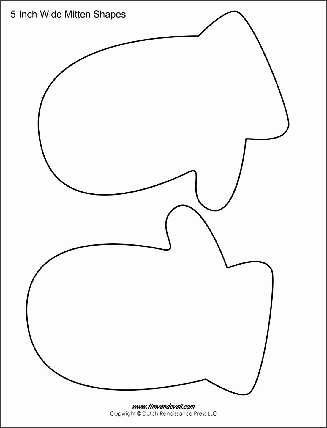 printable sheet blank Mitten template