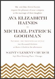 A7 Printable Invitation · Gold Chevron Wedding Invitations · A7 Microsoft Word Template
