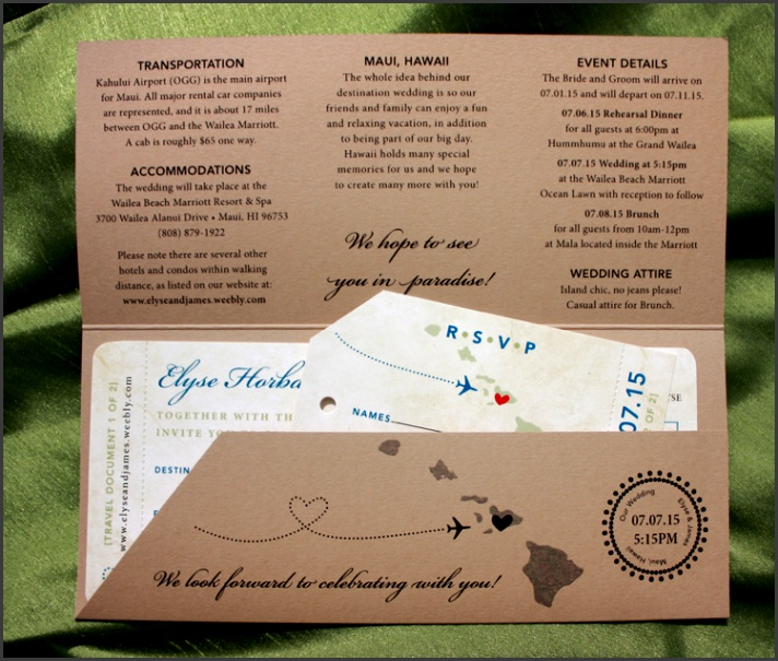 Royal Blue Sage Green & Tan Island Sunset & Hawaiian Map Antique Boarding Pass Wedding Wedding Invitation TemplatesInvitation