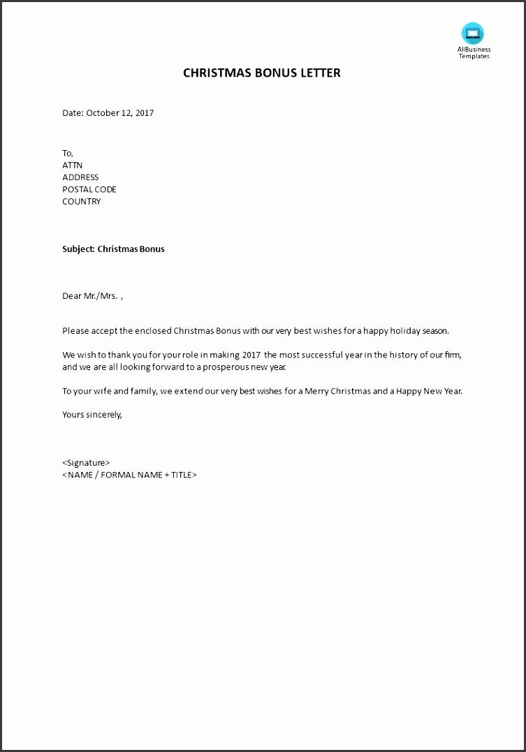 Bonus Letter for Christmas main image Get template