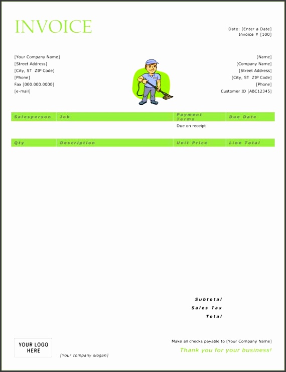 cleaning service invoice DOC pany Invoice Templates