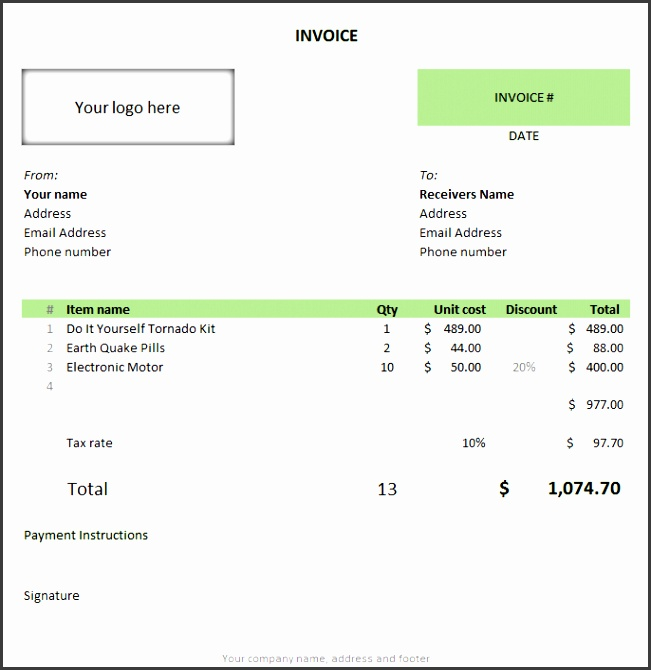 Free invoice template using MS Excel