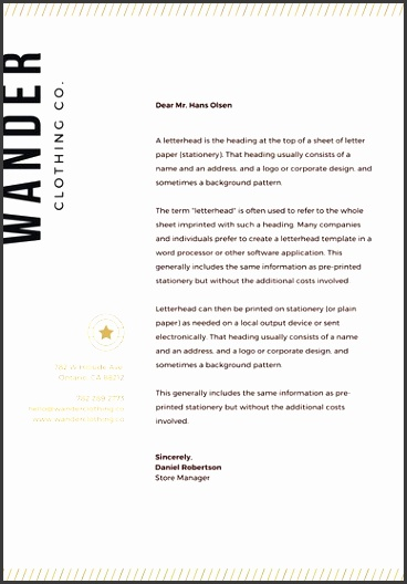 Gold Star Clothing Business Letterhead
